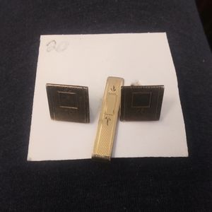 Simmons Square and Stamp Vintage Cufflinks and Tie